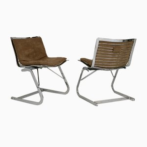 Chromed Steel Lounge Chairs, France, 1970s, Set of 2