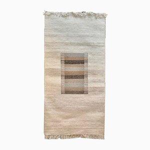 Scandinavian Wool Kelim Wall Rug with Abstract Modern Graphic, 1960s