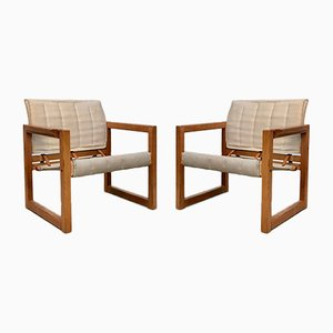 Pine and Canvas Diana Safari Chairs by Karin Mobring for Ikea, 1970s, Set of 2