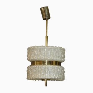 Glass & Brass Ceiling Lamp, 1970s