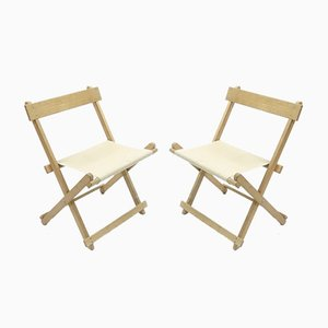 BM45701 Folding Chairs in Beechwood with Canvas by Børge Mogensen for Søborg Furniture, Set of 2