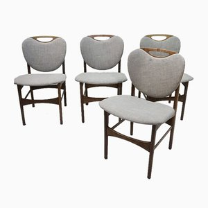 Teak Dining Chairs in the Style of Nils & Eva Koppel, 1960s, Set of 4