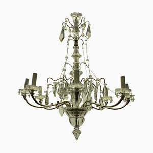 French Silver & Cut Glass Chandelier, 1930s
