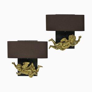 French Gilded Brass Cherub Sconces, 1800s, Set of 2