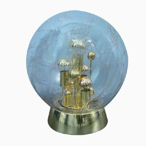Glass & Gold-Plated Ball Table Lamp from Doria, Germany, 1960s