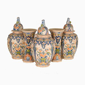 Antique Dutch Chinoiserie Delftware Garniture of Vases in Multicolored Tinglazed Pottery, 19th Century, Set of 5