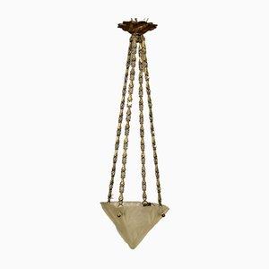 Art Deco French Pendant Lamp by David Gueron for Verrerie D'Art Degué, 1930s