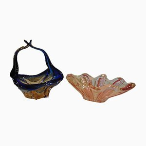 Vintage Murano Glass Fruit Bowls or Baskets, 1970s, Set of 2