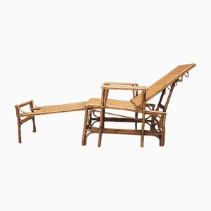 Bamboo and Rattan Chaise Lounge, 1930s