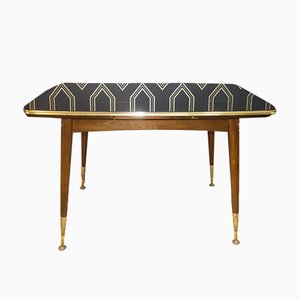 Mufuti Black Glass Coffee Table, 1960s