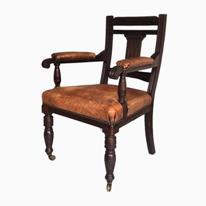 Empire Style Mahogany & Leather Desk Chair, USA, 1900s