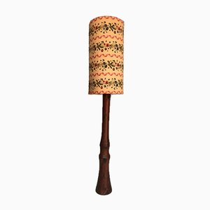 Mid-Century Wooden Floor Lamp with Floral Lampshade