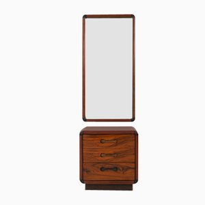 Entry Chest & Mirror in Walnut by Poul Cadovius for Cado Denmark, Set of 2