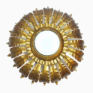 Sun Wrought Iron and Gold Leaf Wall Light, Spain 1970s