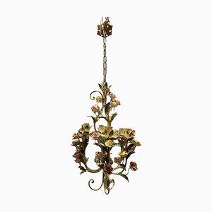 Tole Porcelain Flower Chandelier
