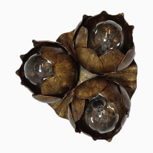 Wrought Iron and Gold Leaf Flower Wall Lamp, Spain, 1970s