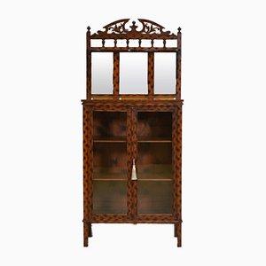 Antique English Decorative Cabinet with Original Burnt Pattern Finish
