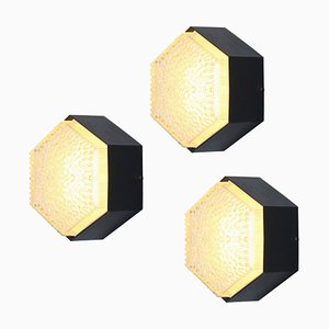 Hexagonal Glass Sconces from Raak, 1960s, Set of 3