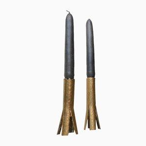 Scandinavian Brutalist Candlesticks in Brass, 1960s, Set of 2
