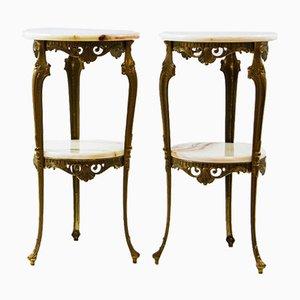 Italian Hollywood Regency Pedestal Console Tables in Carrara Marble, Set of 2