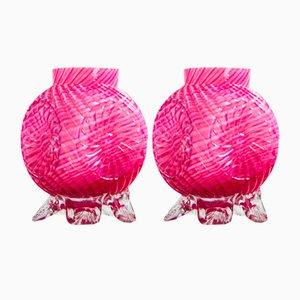 British Pink Inlaid Glass Posy Vases, 1930s, Set of 2