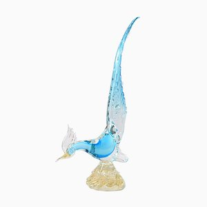 Vintage Blue and Gold Murano Glass Bird, 1960s