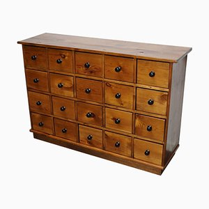 French Industrial Pine Apothecary Cabinet, Mid-20th Century