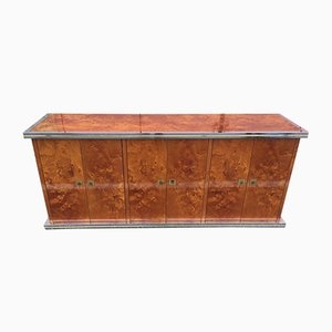 Burr and Elm Sideboard by Willy Rizzo, 1970s