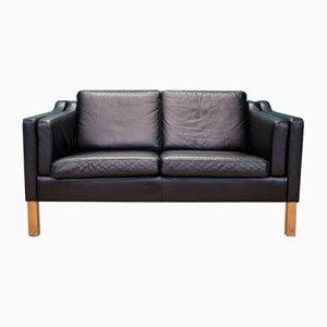 Vintage Danish Black Leather Mogensen Style Sofa, 1970s