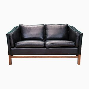 Vintage Danish Black Leather Sofa from Stouby, 1970s