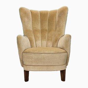 Vintage Danish Yellow Velour Club Chair, 1930s