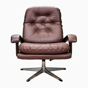 Vintage Danish Brown Leather Swivel Lounge Chair, 1960s