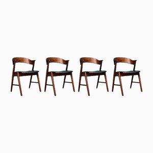 Dänische Mid-Century Palisander Esszimmerstühle von Korup Stolefabrik, 4er Set