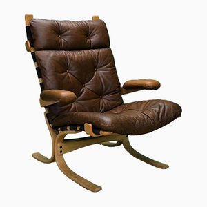Vintage Norwegian Tan Leather Buttoned Lounge Chair, 1970s