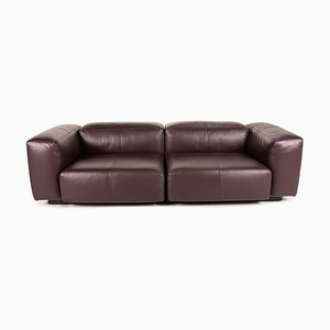Modular Purple Leather Two-Seater Couch by Jasper Morrison for Vitra