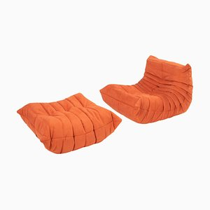 Togo Cadmium Orange Lounge Chair and Footstool by Michel Ducaroy for Ligne Roset, Set of 2