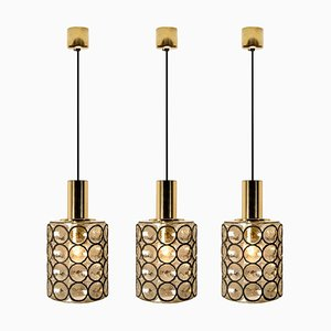 Circle Iron and Bubble Glass Chandeliers from Limburg