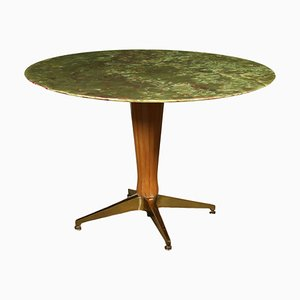 Stained Beech and Brass Table, Italy, 1950s