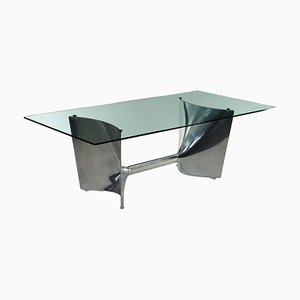Chromed Cast and Aluminium Glass Table by Jeff Miller, 2000s