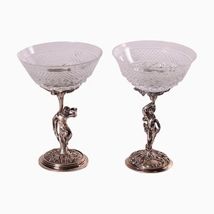 Silver and Crystal Glasses, Set of 2