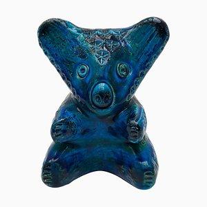 Koala Bear in Glazed Deep Rimini Blue Ceramic by Aldo Londi for Bitossi, 1965