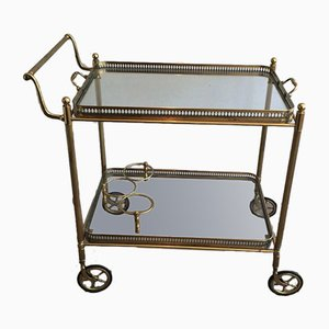 Neoclassical Style Brass Drinks Trolley with Removable Trays, France, 1940s