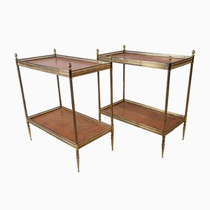 Mid 20th Leather and Brass Etageres / Side Tables, Set of 2