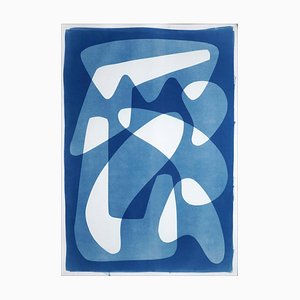 Vanguard Shapes and Shadows, 2021, White and Blue Monotype on Paper, Abstract Forms