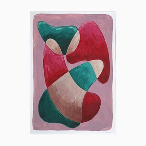 Mid-Century Shapes, Warm Tones Palette, Thick Curvy Shapes, 2021, Green & Red Acrylic Painting