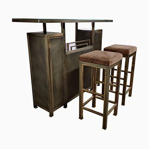 Vintage Bar with Stools by Maison Jansen, 1970s, Set of 3