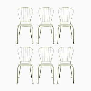 Austrian Mid-Century White Metal Stackable Garden Chairs, Set of 6