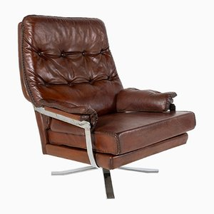 Mid-Century Brown Leather Chrome Swivel Chair by Arne Norell for Vatne Møbler, 1960s