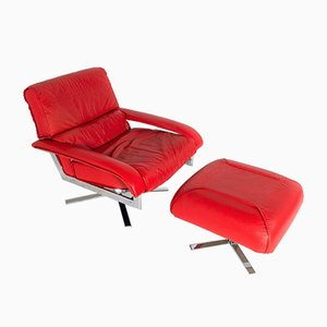 Mid-Century Pieff Gamma Red Leather Tubular Chrome Swivel Chair with Footstool, Set of 2
