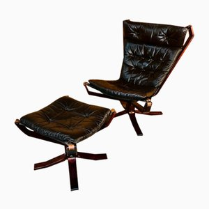 Vintage Danish Leather High Back Chair & Stool by Sigurd Resell